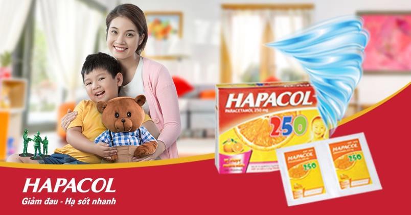 Sản phẩm Hapacol 250 giúp trẻ nhanh giảm đau hạ sốt