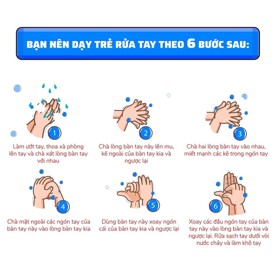 6 bước rửa tay theo hướng dẫn của Bộ Y tế