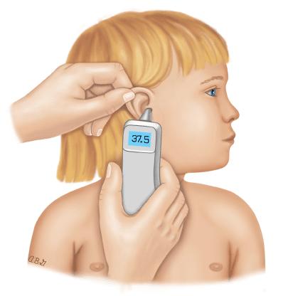 Đo nhiệt độ có thể cho trẻ ở tai