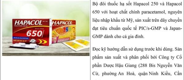 Bộ đôi thuốc hạ sốt Hapacol 650 và Hapacol 250 thích hợp dùng cho cả gia đình