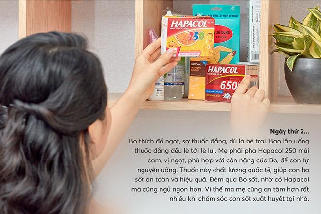"""Hapacol 250 với vị ngọt và hương cam dễ chịu giúp bé """"tự nguyện"""" uống thuốc"""