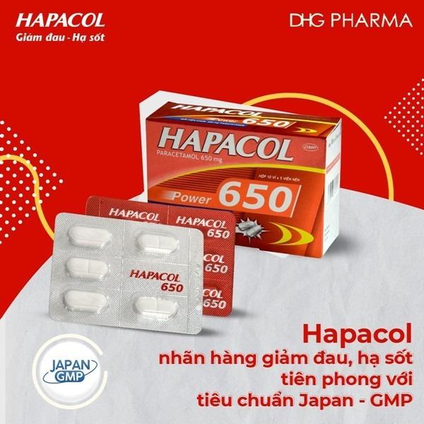 Hapacol 650 với thành phần chính là paracetamol giúp giảm cơn đau nhức cổ hiệu quả