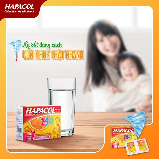 Hapacol 250 giúp bé hạ sốt nhanh chóng, mẹ an tâm.