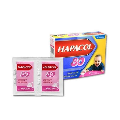 Hapacol 80mg là thuốc giảm đau, hạ sốt hiệu quả, an toàn cho trẻ em khi trẻ bị sốt cao tay chân lạnh