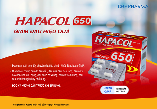 Sản phẩm Hapacol 650 giúp giảm đau hiệu quả