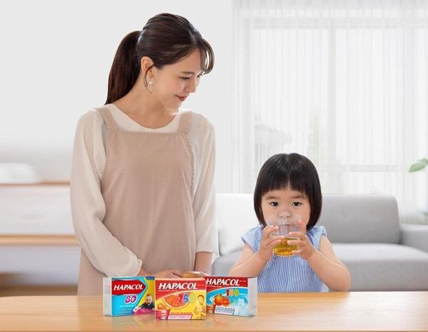 Thuốc giảm đau hạ sốt Hapacol mang đến đa dạng liều lượng 80mg, 150mg, 250mg phù hợp với nhiều mức cân nặng của bé